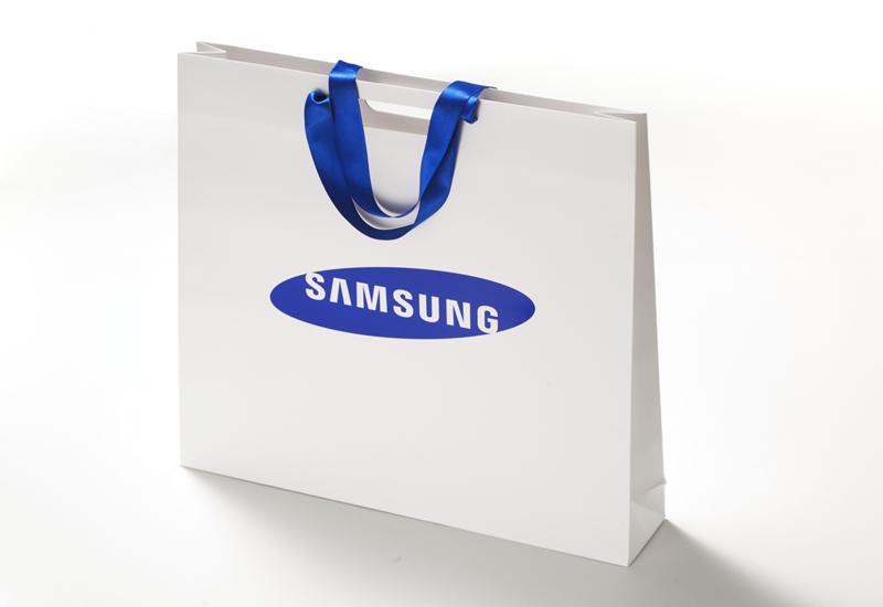 Premium_Papiertasche_Griffloch_Satinband_Samsung